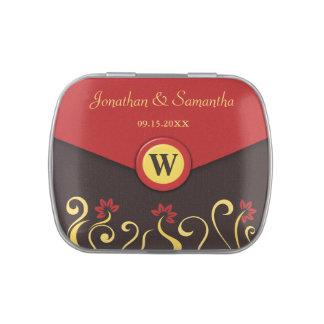 Brown Red Yellow Swirls Wedding Favor Candy Tins
