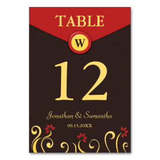 Brown Red Yellow Swirls Wedding Table Number Cards Table Cards