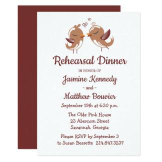 Brown Rehearsal Dinner Lovebirds Wedding Card