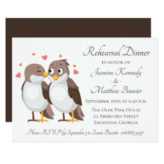 Brown Rehearsal Dinner Lovebirds Wedding Dinner Card