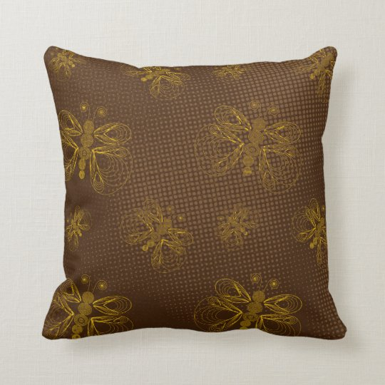 Brown retro batterflies pattern with halftones throw pillow