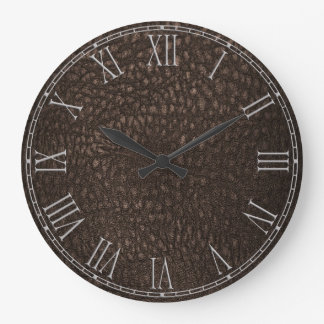 Brown Retro Custom Leather Large Clock