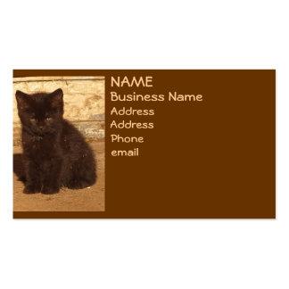 Brown Retro Sepia Kitten Business Cards