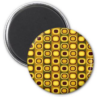 Brown Retro Squares Magnet