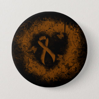 Brown Ribbon Grunge Heart 3 Inch Round Button