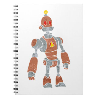 brown robot with lamp head spiral note book