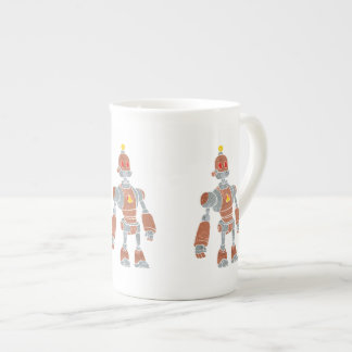 brown robot with lamp head tea cup