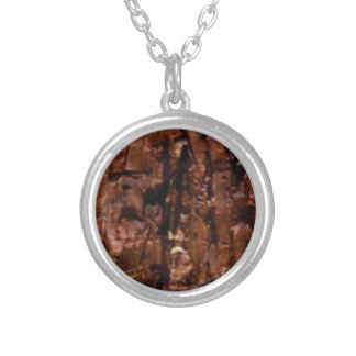 brown rock crumble silver plated necklace
