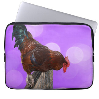 Brown Rooster Nosy Parker, Laptop Sleeve