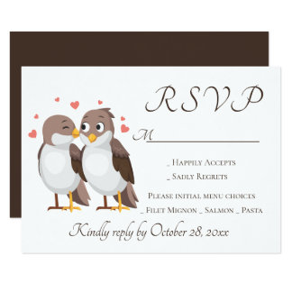 Brown RSVP Lovebirds Wedding Party Birds Card