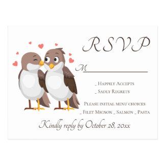 Brown RSVP Lovebirds Wedding Party Birds Postcard