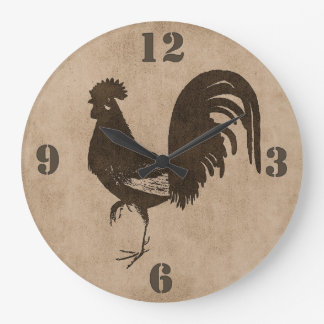 Brown Rustic Country Rooster Wall Clock