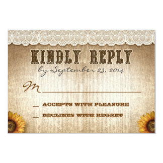"""brown rustic country style wedding RSVP with lace 3.5"""" X 5"""" Invitation Card"""