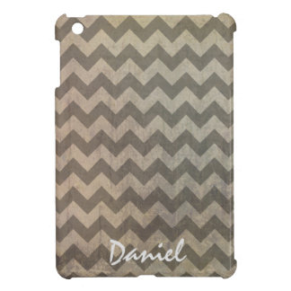 Brown Rustic Grunge Chevron Zigzag Pattern Name iPad Mini Cases