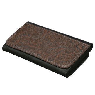 Brown Rustic Vintage Paisley Pattern Leather Wallet