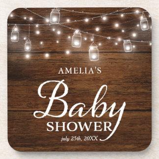 Brown Rustic Wood Mason Jars Lights Baby Shower Coaster