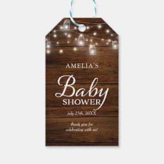 Brown Rustic Wood Mason Jars Lights Baby Shower Gift Tags