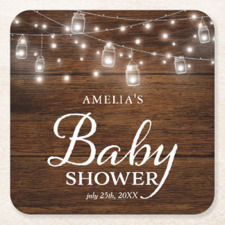 Brown Rustic Wood Mason Jars Lights Baby Shower Square Paper Coaster