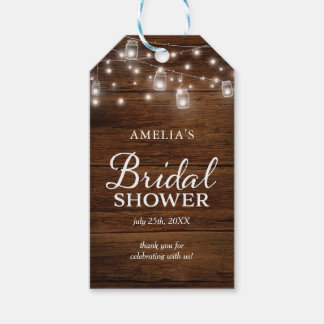 Brown Rustic Wood Mason Jars Lights Bridal Shower Gift Tags