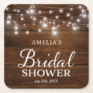 Brown Rustic Wood Mason Jars Lights Bridal Shower Square Paper Coaster