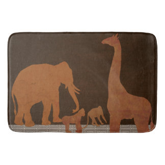 Brown Safari Jungle Zoo Animals Bath Mat