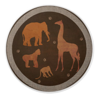 Brown Safari Jungle Zoo Animals Ceramic Knob