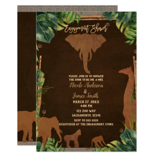 Brown Safari Jungle Zoo Animals Engagement Shower Card