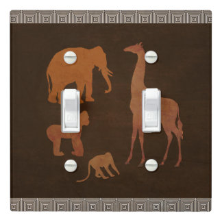 Brown Safari Jungle Zoo Animals Personalized Light Switch Cover