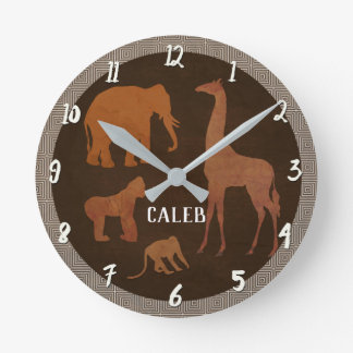 Brown Safari Jungle Zoo Animals Round Clock