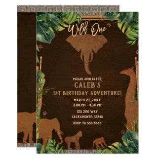 Brown Safari Jungle Zoo Animals WILD ONE 1st Party Card