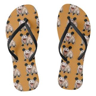 brown sandalen with handpainted opossums flip flops