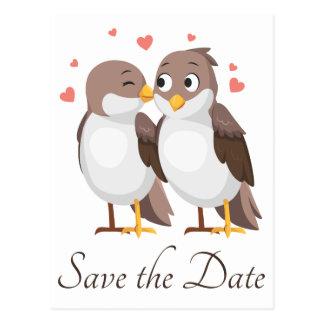 Brown Save The Date Lovebirds Wedding Engagement Postcard