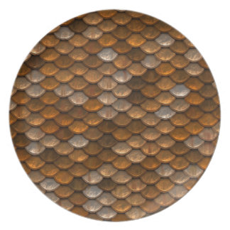 Brown scales pattern plate