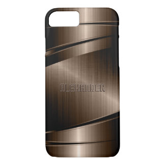 Brown Shiny Metallic Stainless Steel iPhone 7 Case