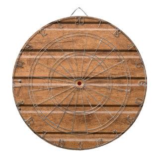 Brown siding that mimics the natural wood dartboard