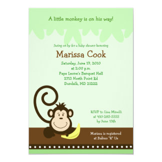 "Brown Silly Monkey Jungle Boy Baby Shower 5x7 5"" X 7"" Invitation Card"
