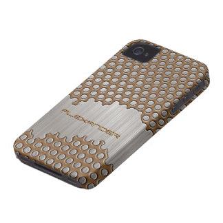 Brown & Silver Brushed Aluminum Metal-Custom Text iPhone 4 Case