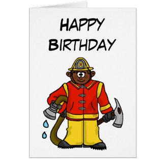 Brown-Skin Cartoon Fireman  Card   Customize It!