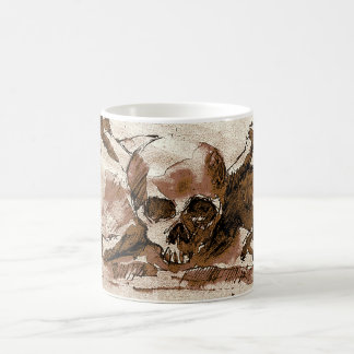 brown skull and crossbones coffee mug