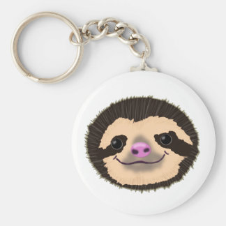 brown smiling sloth face keychain