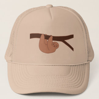 Brown Smiling Sloth with Heart Nose Trucker Hat