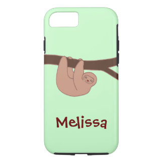 Brown Smiling Sloth with Name iPhone 7 Case