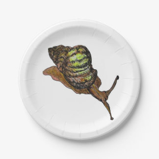 brown snail paper plate 7 inch paper plate