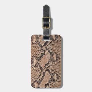 Brown Snakeskin Look Luggage Tag
