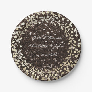 Brown Sparkly Glitter Foxier Gold Wreath Garland Paper Plate