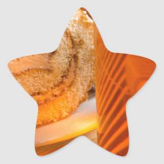 Brown sponge cake and cup of hot tea star sticker