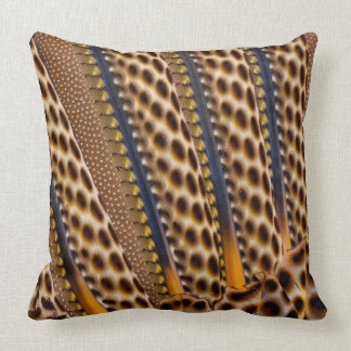 Brown spotted pheasant feather throw pillow