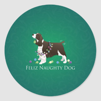 Brown Springer Spaniel Dog Feliz Naughty Dog Classic Round Sticker