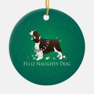 Brown Springer Spaniel Dog Feliz Naughty Dog Round Ceramic Ornament