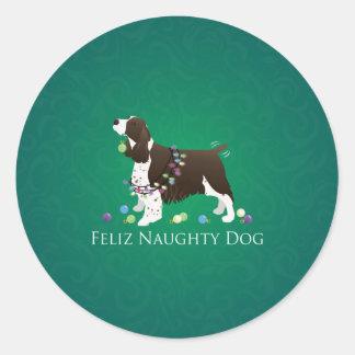 Brown Springer Spaniel Dog Feliz Naughty Dog Round Sticker